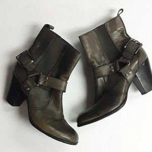 Arturo Chiang Brown Harness Moto Ankle Heel Boots